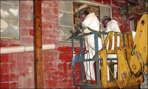 Removal of asbestos-containing window systems, interior view